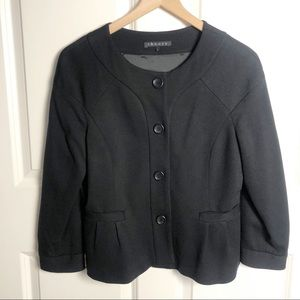 Theory Black Crop Blazer Peplum Hem size Large